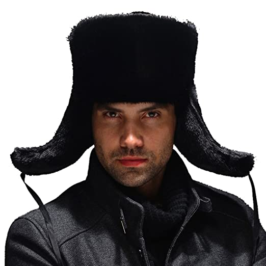 4cc829ff60307 URSFUR Men s Premium Mink Fur Russian Ushanka Trapper Hats - Black ...