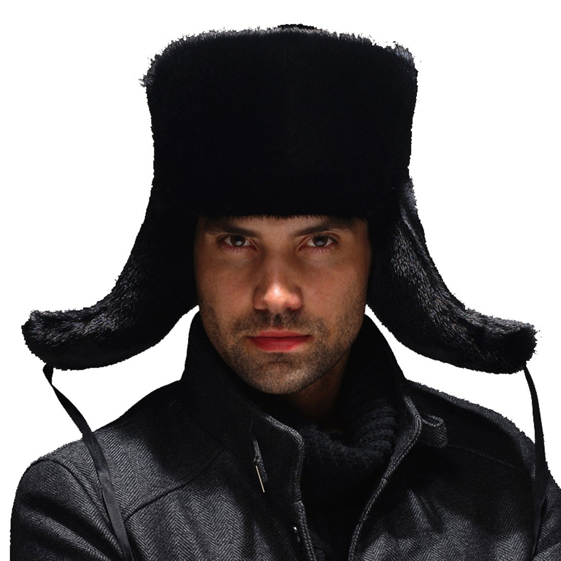 URSFUR Men's Premium Mink Fur Russian Ushanka Trapper Hats - Black