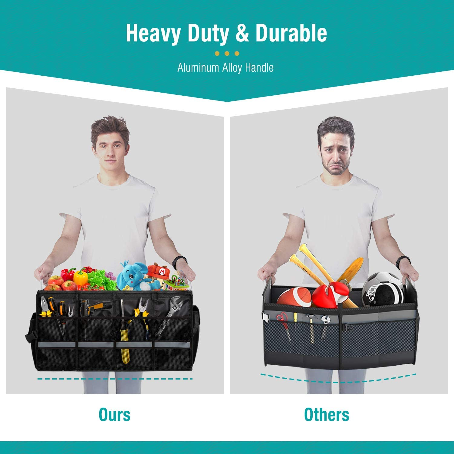 Waterproof Black SOLOFISH Car Trunk Organizer Collapsible Portable Boot Tidy with Aluminium Alloy Handle for Heavy Duty Carry