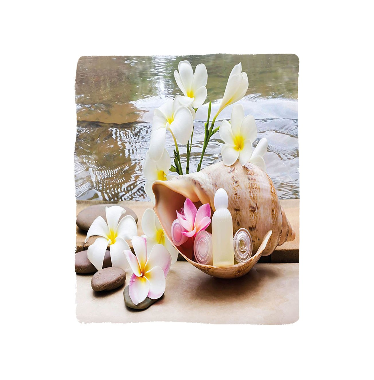 VROSELV Custom Blanket Spa Trio Bubblebath with Cream and Liquid Soap with Cute Flowers and Sea Shell Bedroom Living Room Dorm White and Brown