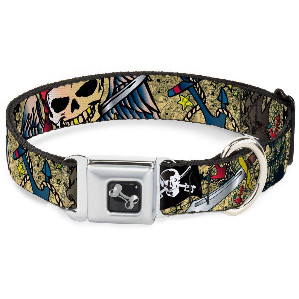 Buckle-Down Dead Men Tell No Tales Tan Dog Collar Bone, Medium 11-17