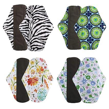 4Pcs Menstrual Pads, 💕 Zolimx Reutilizable Tela de Bamboo Charcoal Lavable Paño de Cojín Menstrual