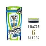 Dorco Pace 6+ Razor for Men: World's First Six-Blade Design - Pivoting Head for Maximum Coverage - Built-In Fine Sculpting Trimmer - Lubrication Strip with Aloe and Vitamin E - 6 Blades + 1 Handle