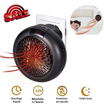 Wonder Heater, Mini portátil Calentador, Estufa Eléctrica Portatil 1000 W con Termostato Ajustable Tiempo Programable de 12 Horas (Negro): Amazon.es: Hogar