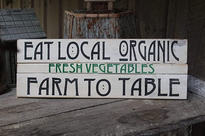 Emily Pallet Sign Eat Local Organic Fresh Produce Farm to Table Arts Crafts Cabin Boho Hippie Farmhouse Kitchen Dining Decor 12 x 3.5 Inch Wooden Sign Crafts for Living Room Decorative