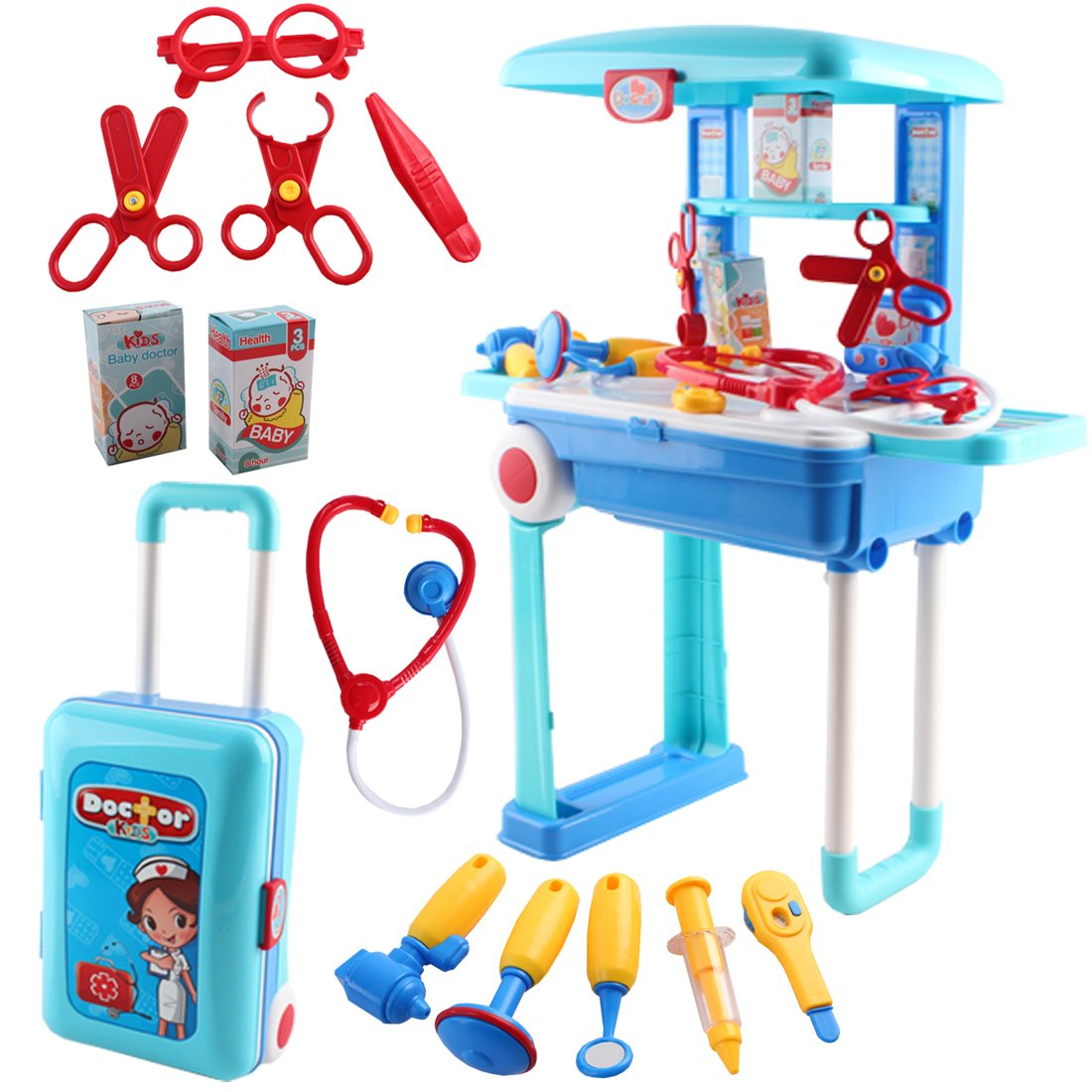 deAO Toys Doctor Kids Medical Center Hospital Convertible Suitcase Portable Role Play Set with Accessories