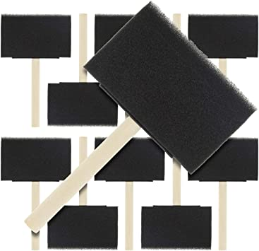 Durable and Great for Acrylics - Lightweight RETYLY 2 inch Foam Sponge Wood Handle Paint Brush Set Stains Crafts Value Pack of 40 Varnishes Art