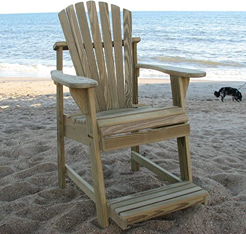 Weathercraft Designers Choice Treated Balcony Adirondack Chair with Footrest – Natural