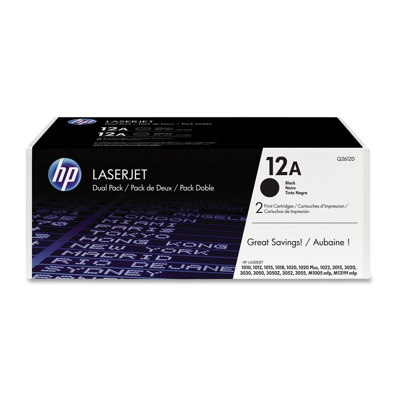 HP 12A (Q2612A) Black Toner Cartridge, 2 Toner Cartridges (Q2612D)
