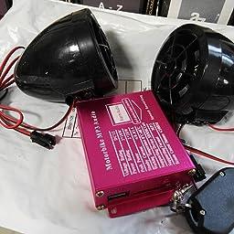 MMC USB MP3 Jugador FM Radio Coche Alarma Altavoz Negro 12V Impermeable Mini Multifuncion Motocicleta Audio Amplificador iPod de tarjetas SD R TOOGOO
