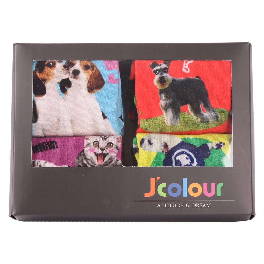 J'colour Unisex Men's Fashion Colorful Bamboo Animal Print Mid Calf Socks Men' s Animal Crew Socks 1 Pair Smiling Cat&Purple J2016001904
