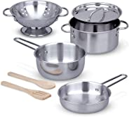 Melissa & Doug Let's Play House, Stainless Steel Pots & Pans Play Set - The Original Kids Toy, 8 Pieces, Great Gift for Girls
