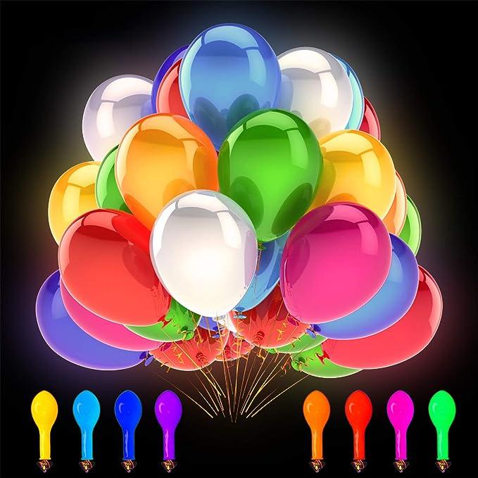 50X LED Balloon Lights Paper Lantern Light Balloons Glow in dark Christmas Party