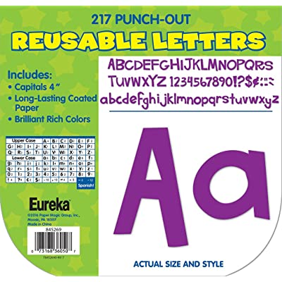 Eureka Back to School Purple Punch Out Letters for Classroom Decoration, 217pc, 4'' H : Office Products