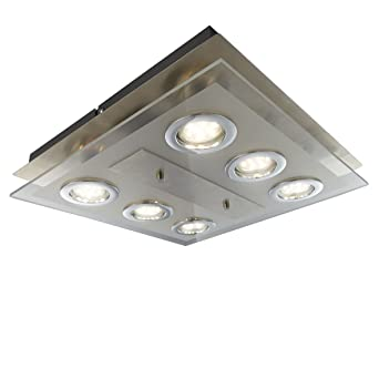 LED Deckenleuchte 6 X GU10 3W Lampe Deckenlampe Strahler Spots Wohnzimmerlampe Eckig Matt Nickel