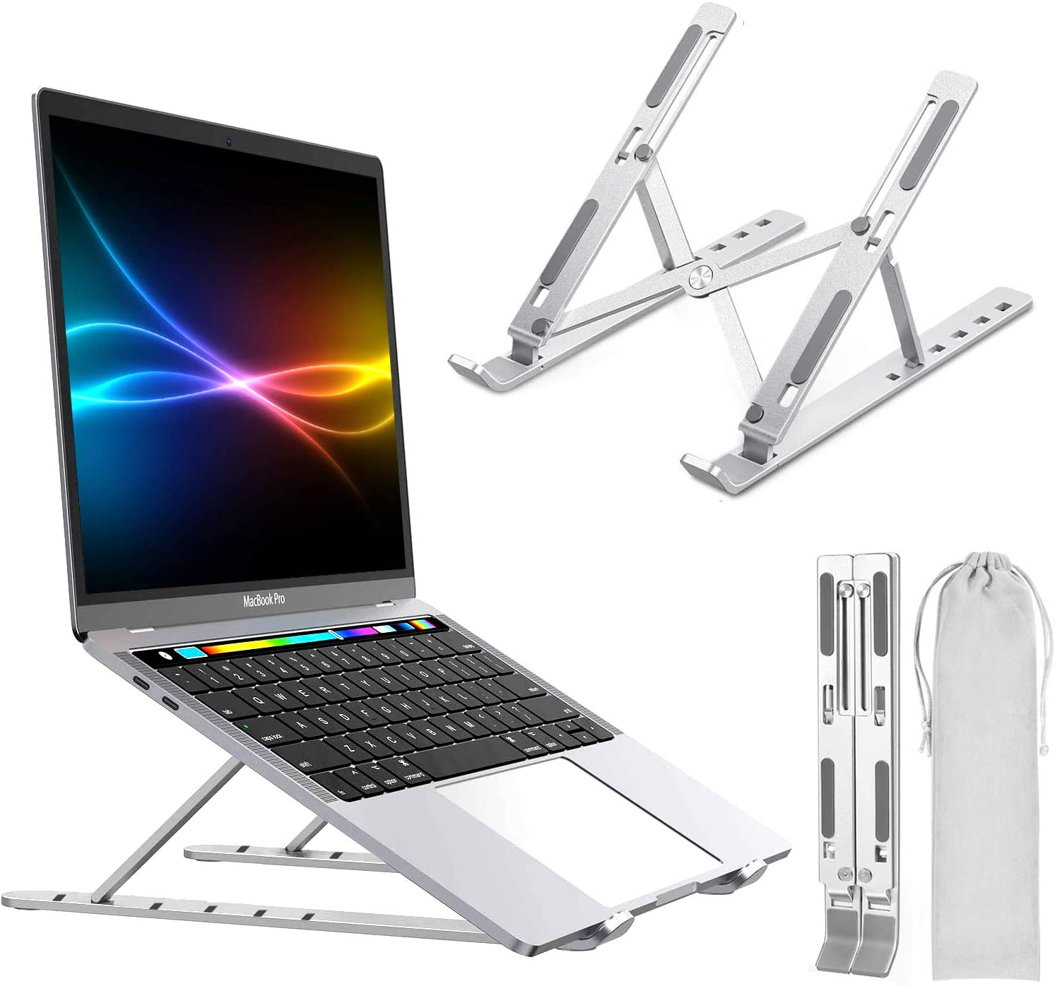 "Laptop Stand,PTUNA Portable Adjustable Tablet Computer Stand,Aluminum Alloy Folding Laptop Stand Compatible MacBook Air Pro,HP,Lenovo More 10-15.6"" Laptops & Tablet(Space Silver) (Silver)"