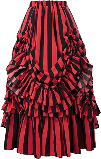 New Girls Retro goth black,white red hearts stripes Frilly Party gift Skirt