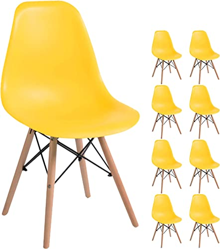 YEEFY Dining Chairs Plastic Dining Room Chair Contemporary Side Chair Wooden Legs Chair