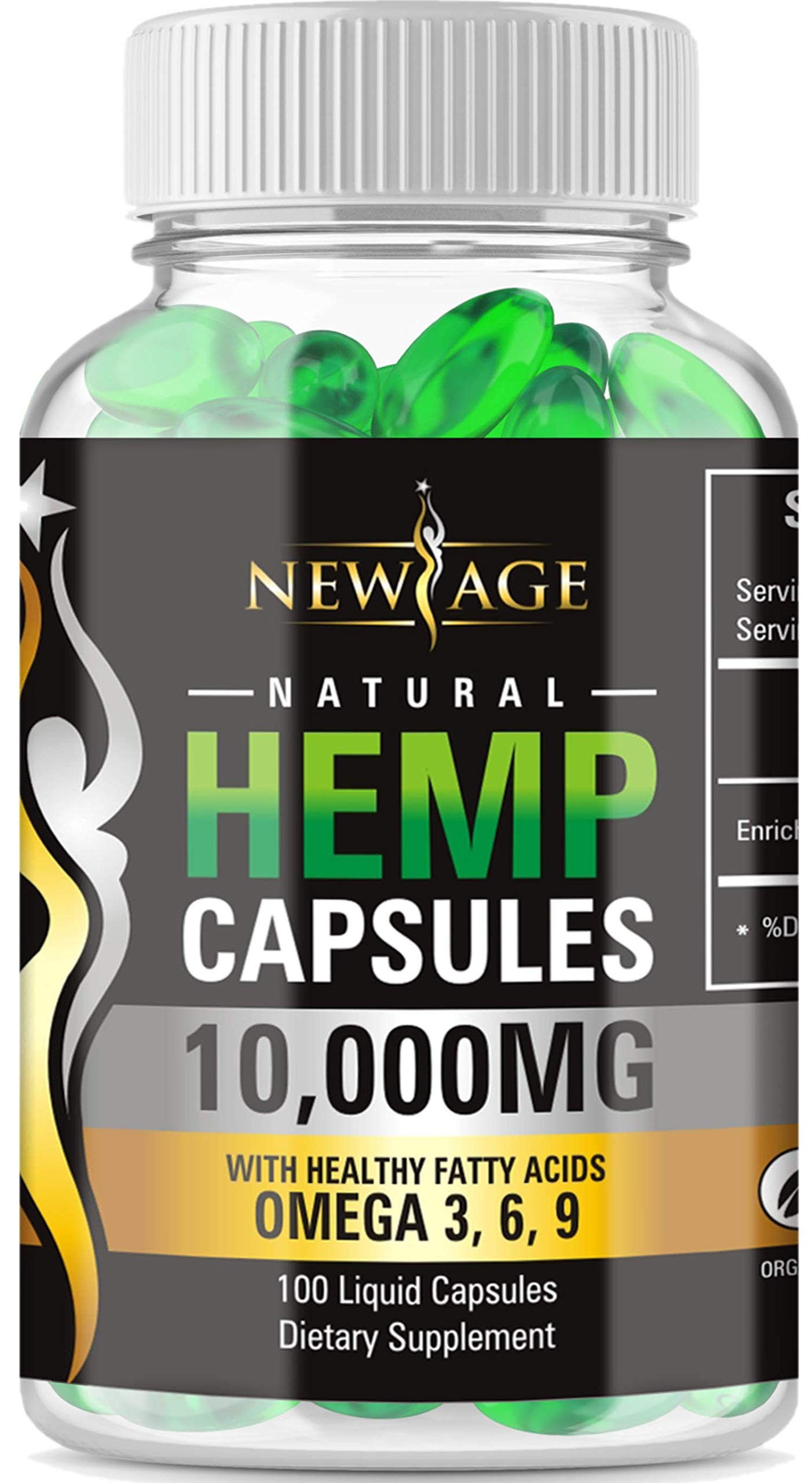 Hemp Capsules - 10,000 MG of Pure Hemp Extract Per Bottle - Pain, Stress & Anxiety Relief - Natural Sleep & Mood Support - Made in The USA - Maximum Value - Rich in Omega 3,6,& 9, by New Age