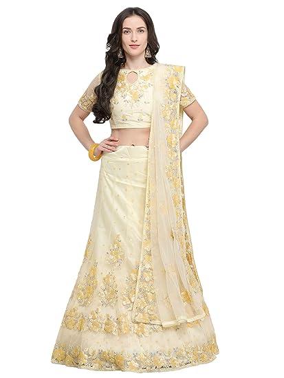 954cf25c43f Aasvaa Yellow Color Net Embroidered Semi-Stitched Lehenga Choli  (NMMY14A840 YELLOW)
