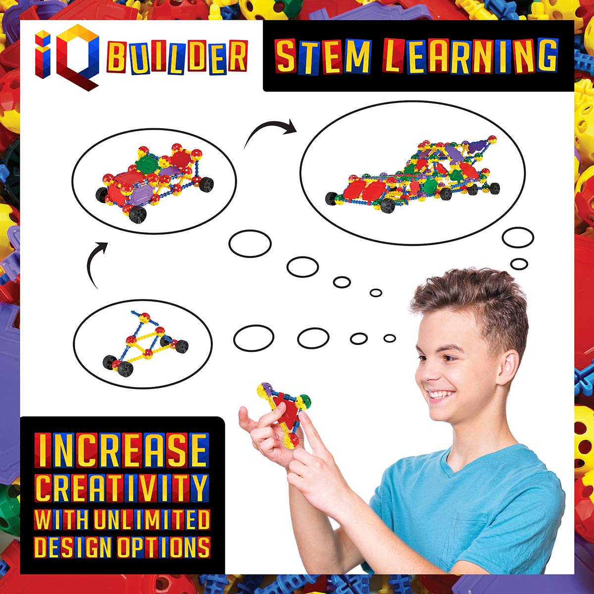 IQ BUILDER Activity Game STEM Learning Toys | Best Toy Gift for Kids Fun Educational Building Blocks Toy Set for Boys and Girls Ages 5 6 7 8 9 10 Year Old Creative Construction Engineering