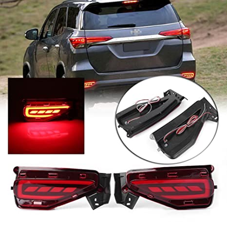 GZYF Pair LED Rear Bumper Reflector Brake Tail Light Lamp Fits 2015-2017  Toyota Fortuner
