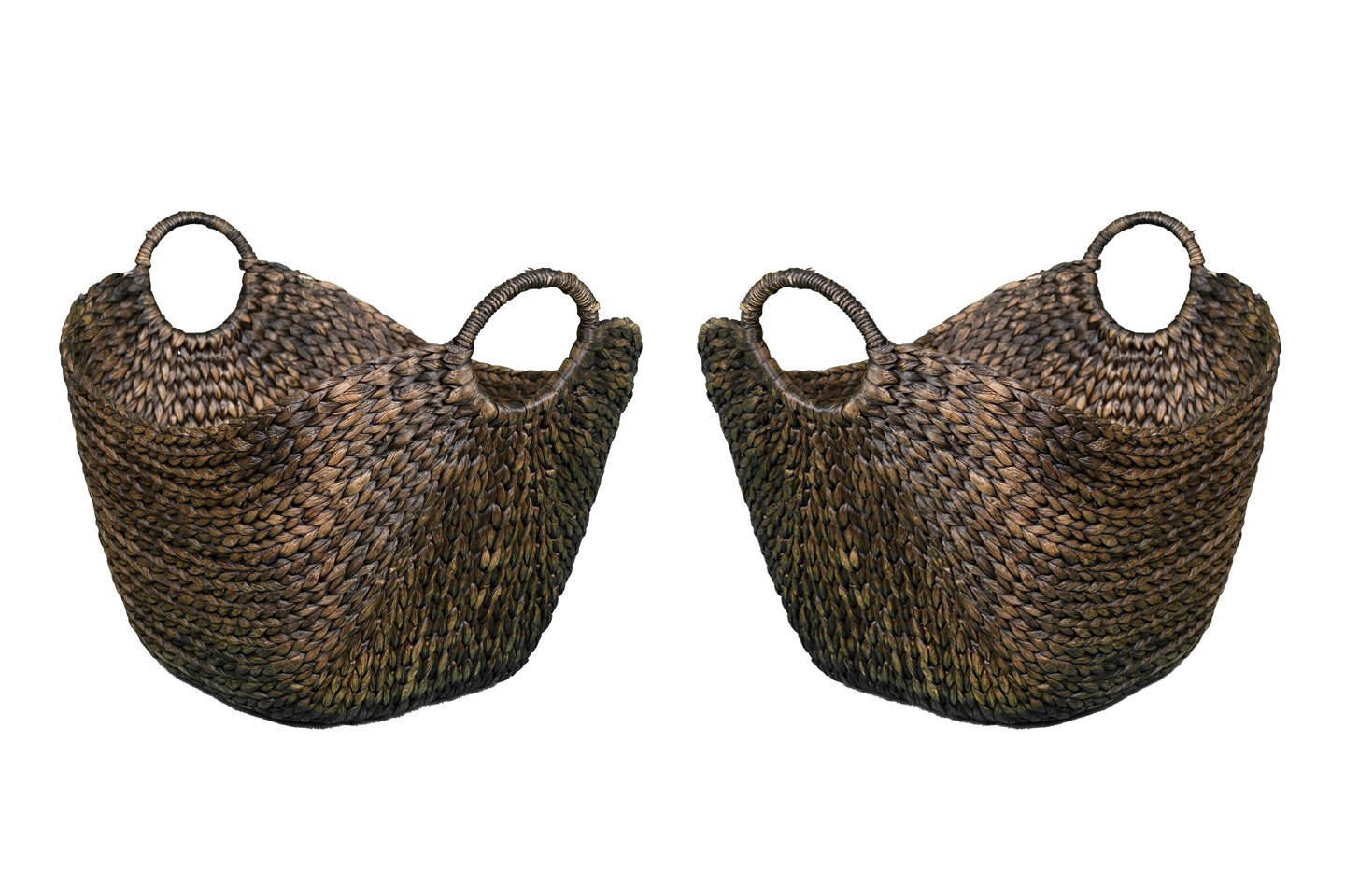 BirdRock Home Water Hyacinth Laundry Baskets (Espresso) | One Basket Included | Hand Woven FBA_5063