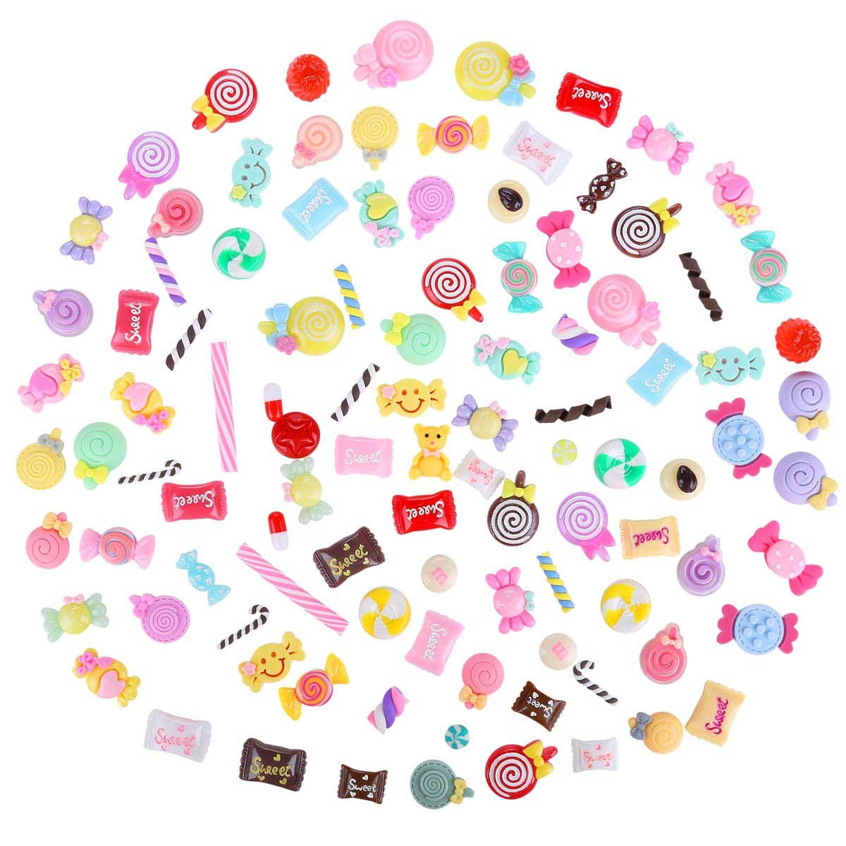 100 Pack Colorful Cute Slime Charms Supplies and Slime Beads Mixed Candy Sweet Resin Flatback for DIY Crafts Accessories Scrapbooking Tbestmax