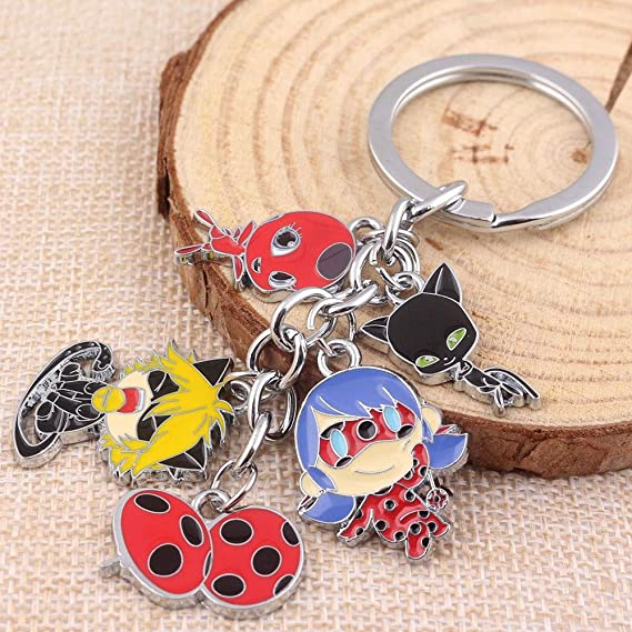 Amazon.com: Modi Ladybug Cat Keychain Charm Pendant Kwami ...