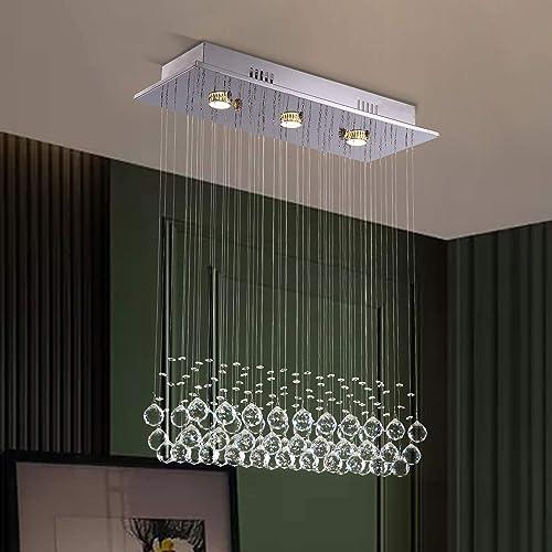 NOXARTE Modern K9 Crystal Chandelier Lighting Raindrop Flush Mount LED Ceiling Light Fixture
