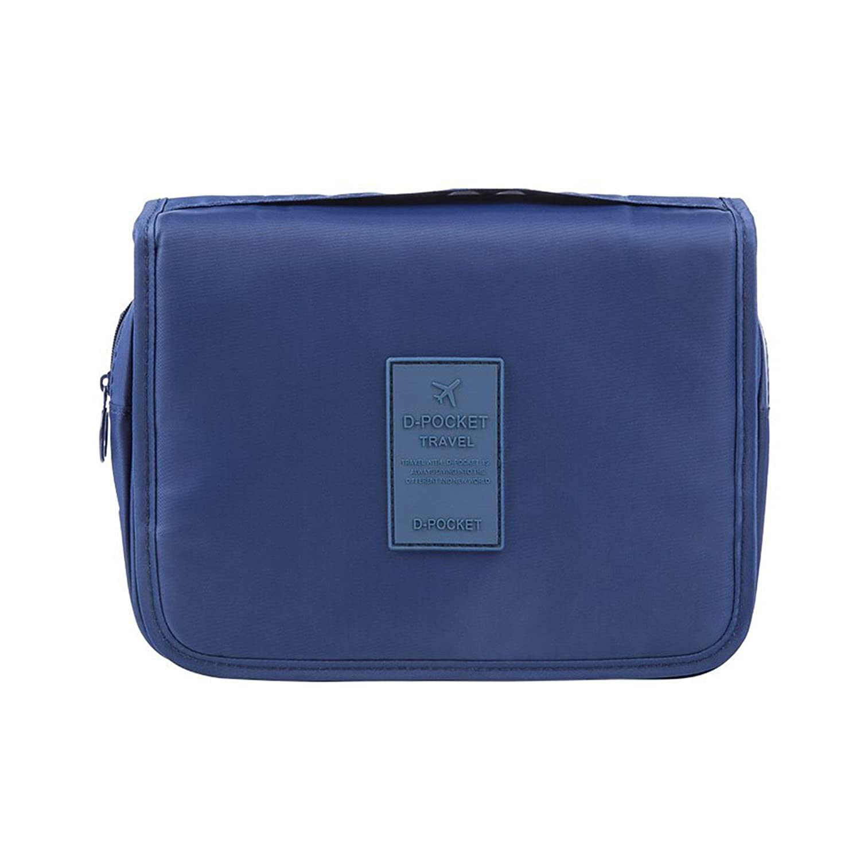 Neceser de Viaje Bolsa de Aseo para Hombre y Mujer con Cierre Cremallera Impermeable Cosméticos (Azul)