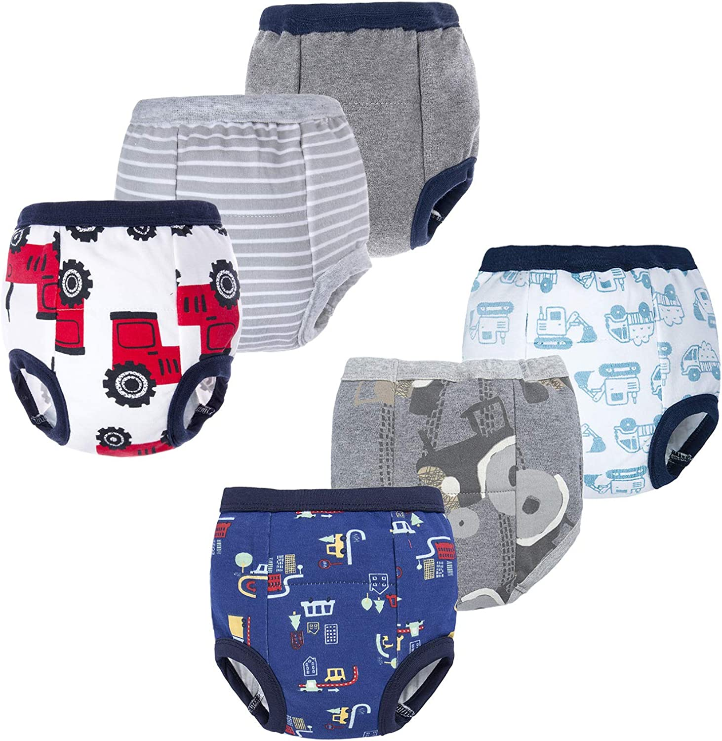 groß Elephant Baby Boys' Toddler Potty 6 Pack Padded Soft Pure Cotton Pee Training Pants Waterproof Underwear