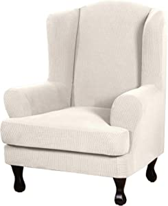 H.VERSAILTEX 2 Piece Stretch Jacquard Wingback Chair Covers Slipcovers Wing Chair Covers (Base Cover Plus Seat Cushion Cover) Furniture Covers for Wingback Chairs, Form Fitted Thick Soft, Ivory