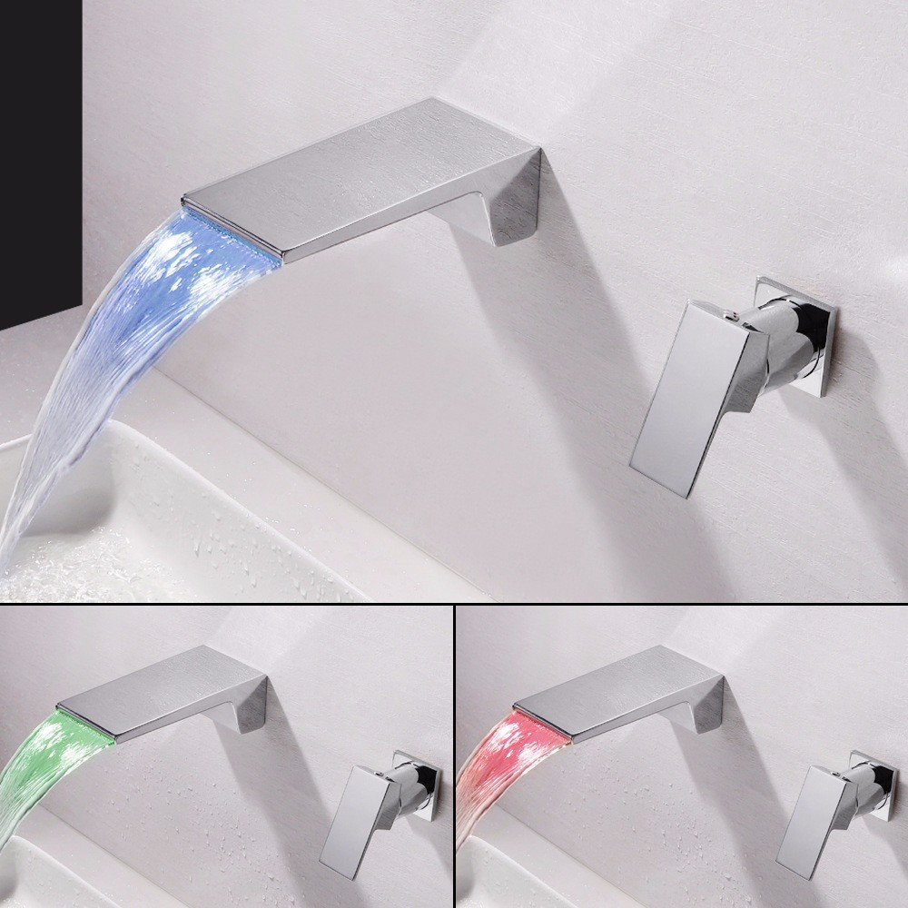 Led Models iJIAHOMIE Style of Bathroom Sink Taps, Bathroom Faucets,Waterfall Basin Sink Mixer Tap Modern LED Wall-Mounted hot and Cold Water Ceramic Valve with Two Holes and one Handle, LEDmodels