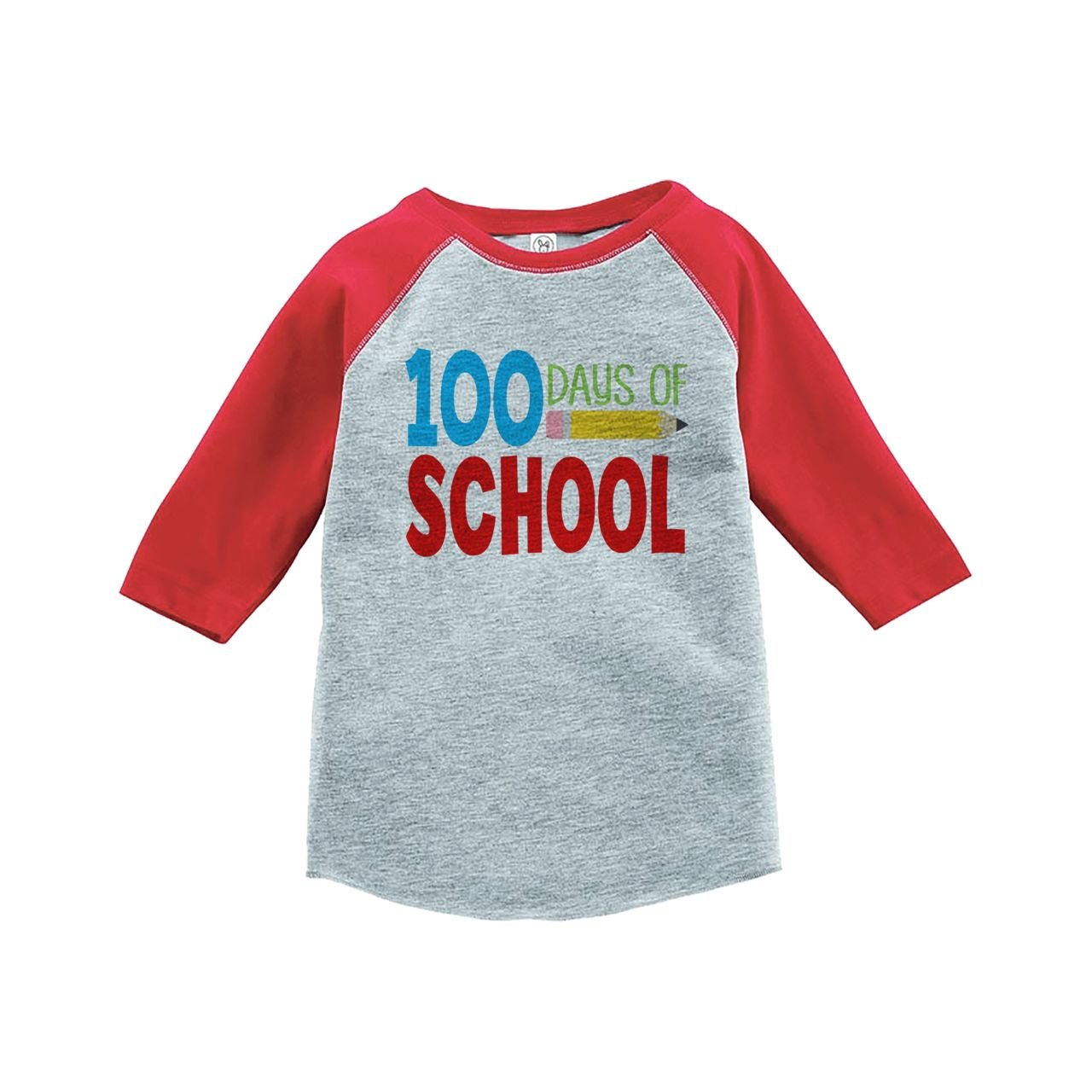 Custom Party Shop Kids 100 Days of School Red Baseball Tee