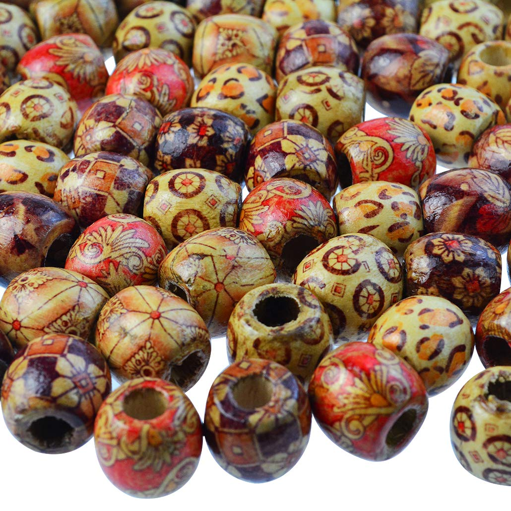 mifengda 300PCS 10mm/12mm/17mm Natural Loose Round Wood Beads Painted Pattern Barrel Beads Bulk for Jewelry Making DIY Handmade Rosary Bracelet Necklace