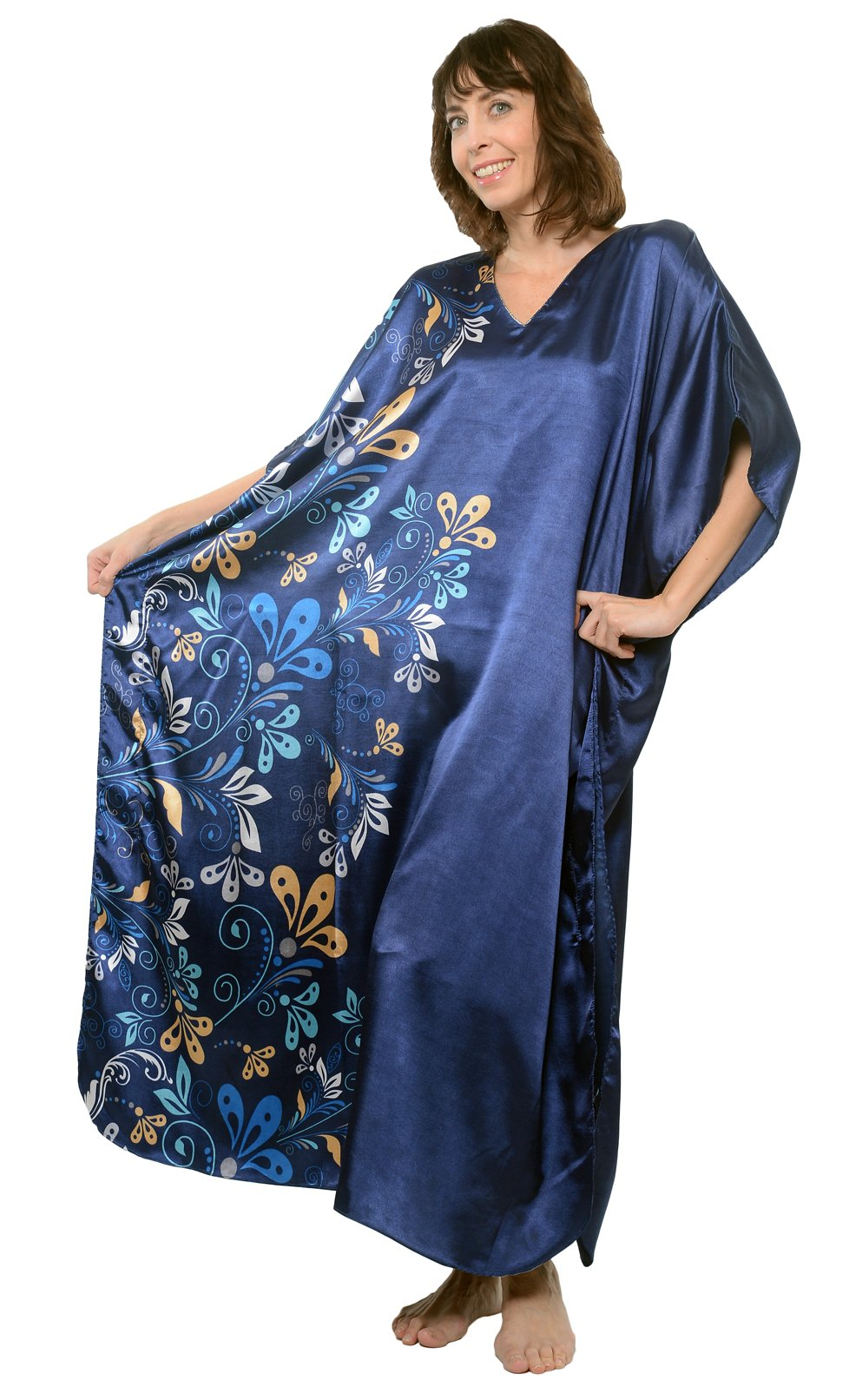 Up2date Fashion Pretty Caftan with Midnight Floral Vines, One Size, Style-Caf-60