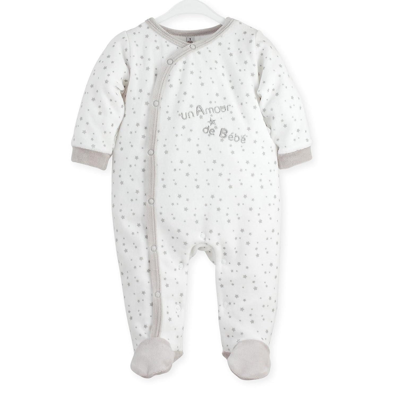 Kinousses Dors Bien Grenouillère Pyjama pour Bébé en Velours Motif Etoile/Un Amour de Bébé Blanc 3 Mois 910 2056