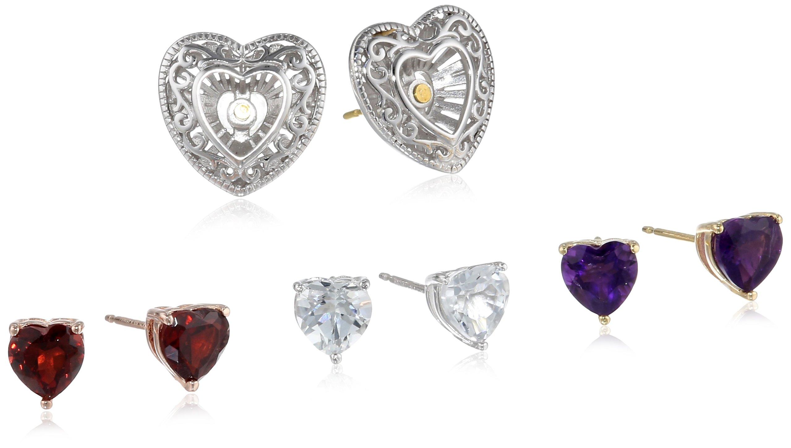 Multi-Plating Sterling Silver Multi Gemstone Jacket and Interchangeable Heart Stud Earrings, Set of 3