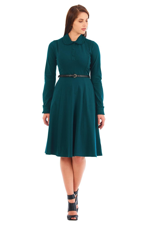 Plus Size Retro Dresses   Swing, Rockabilly, Pinup Dresses eShakti Womens Ruffle collar cotton knit shirtdress $60.95 AT vintagedancer.com