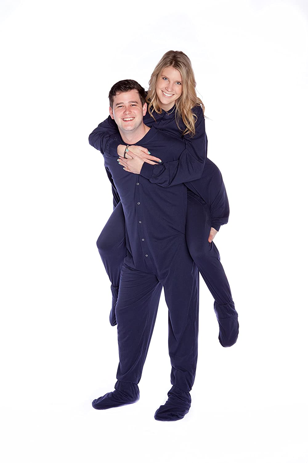 407f77472d28 Big Feet PJs Navy Cotton Jersey Adult Onesie Footed Pajamas w Drop Seat