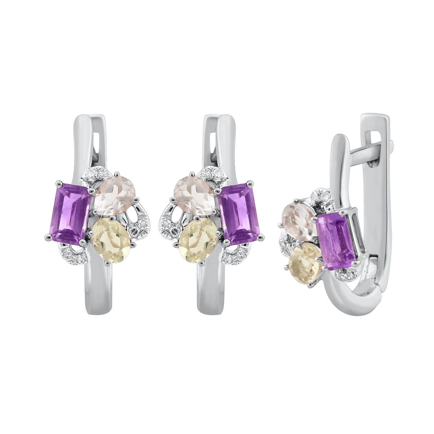 Jewel Ivy Fusion 14K White Gold Earring with Diamond, Amethyst and Lemon Quartz Fine Jewelry, Best For Gifting Wife, Girlfriend, Friend