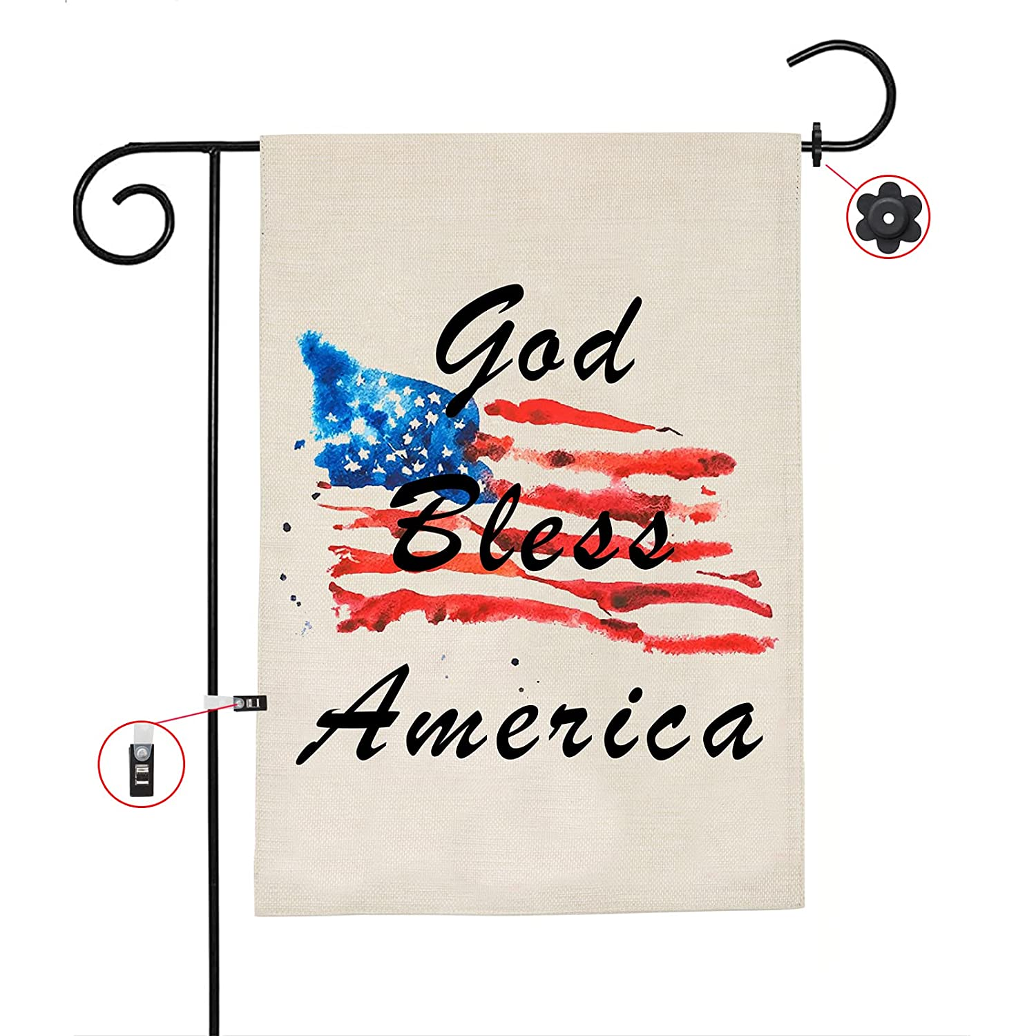God Bless America 4th of July Garden Flag, Vertical Double Sided Star and Strip American Flag, Patriotic Memorial Day Independence Day 12.5x18 Inch Monogram Sign with Stopper and Anti-Wind Clip