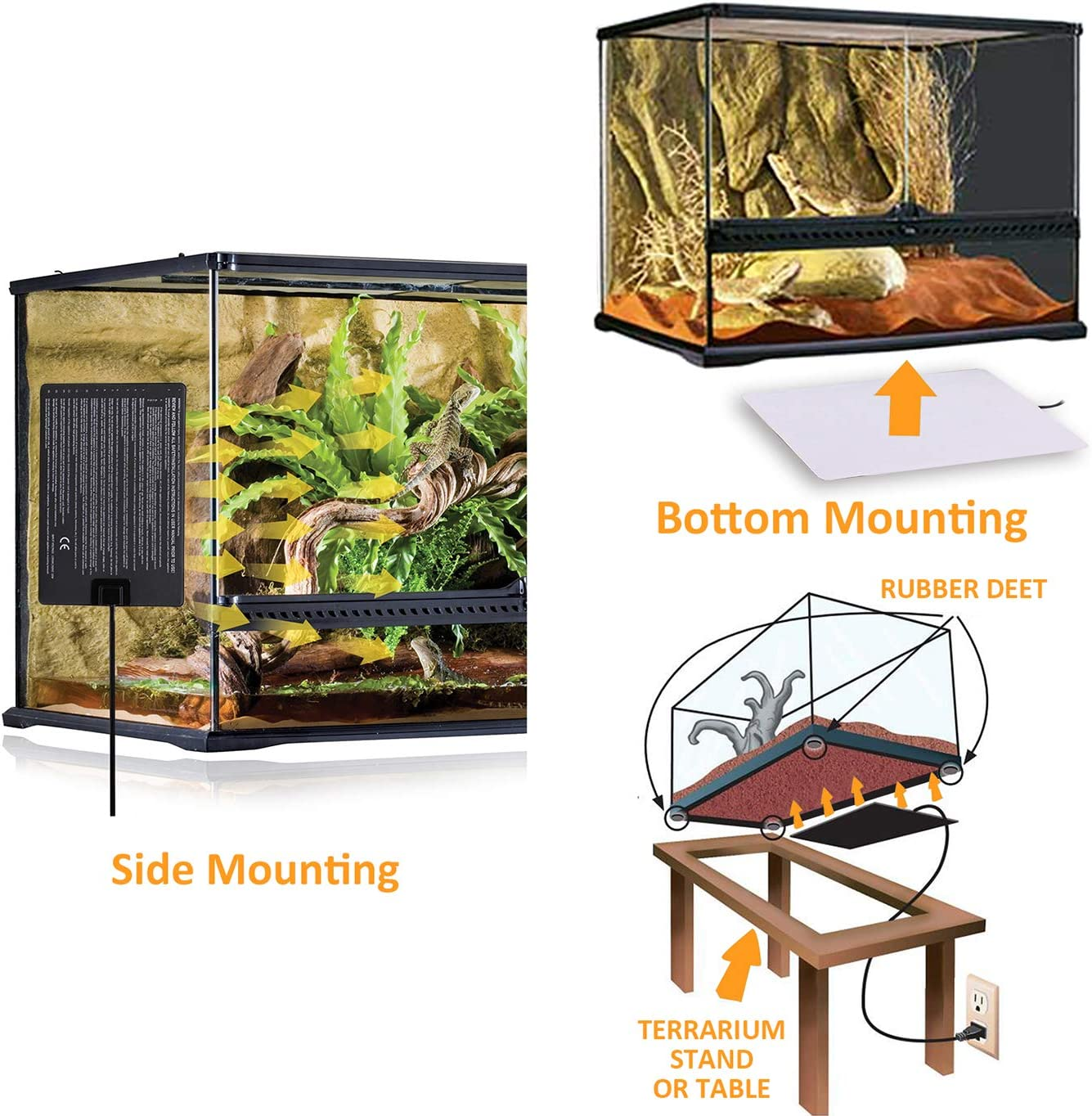 Terrarium Heat Pads Aquarium Heating Mat with Thermostat for Reptiles Snake 16W Turtles Lizard AIICIOO Reptile Heat Mat Tank Warmer
