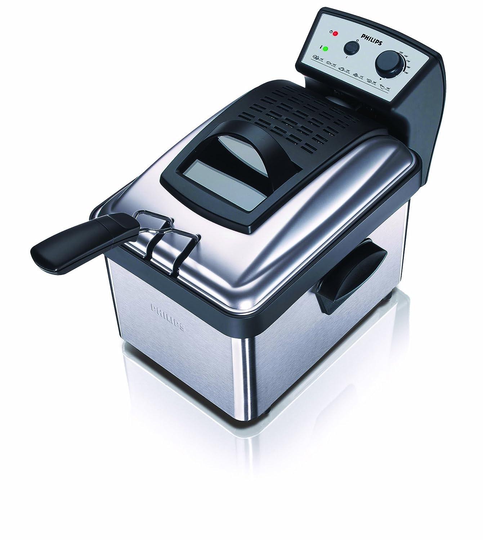 Philips HD6163/00 - Freidora metálica (2200W, con cubeta interna extraíble, para un fácil vaciado del aceite, termostato ajustable: 150 - 190 °C)