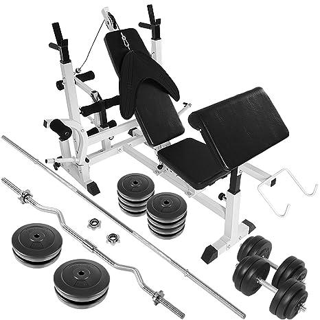 Physionics - Banc de Musculation Multifonction et Set d Haltères (Barres +  Disques Plastiques b37fab3fb40