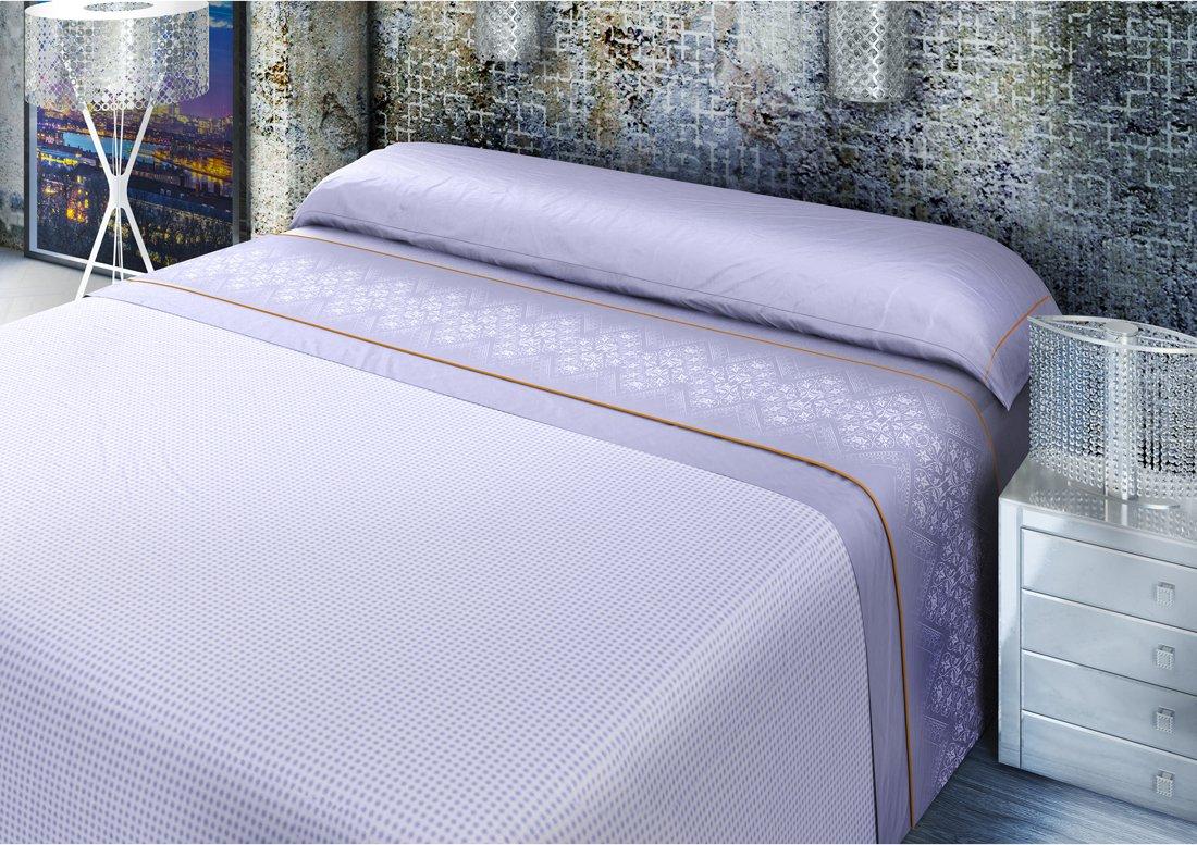 Algod/ón-Poli/éster Todomueble Ibiza Juego de S/ábanas cama de 90 Malva