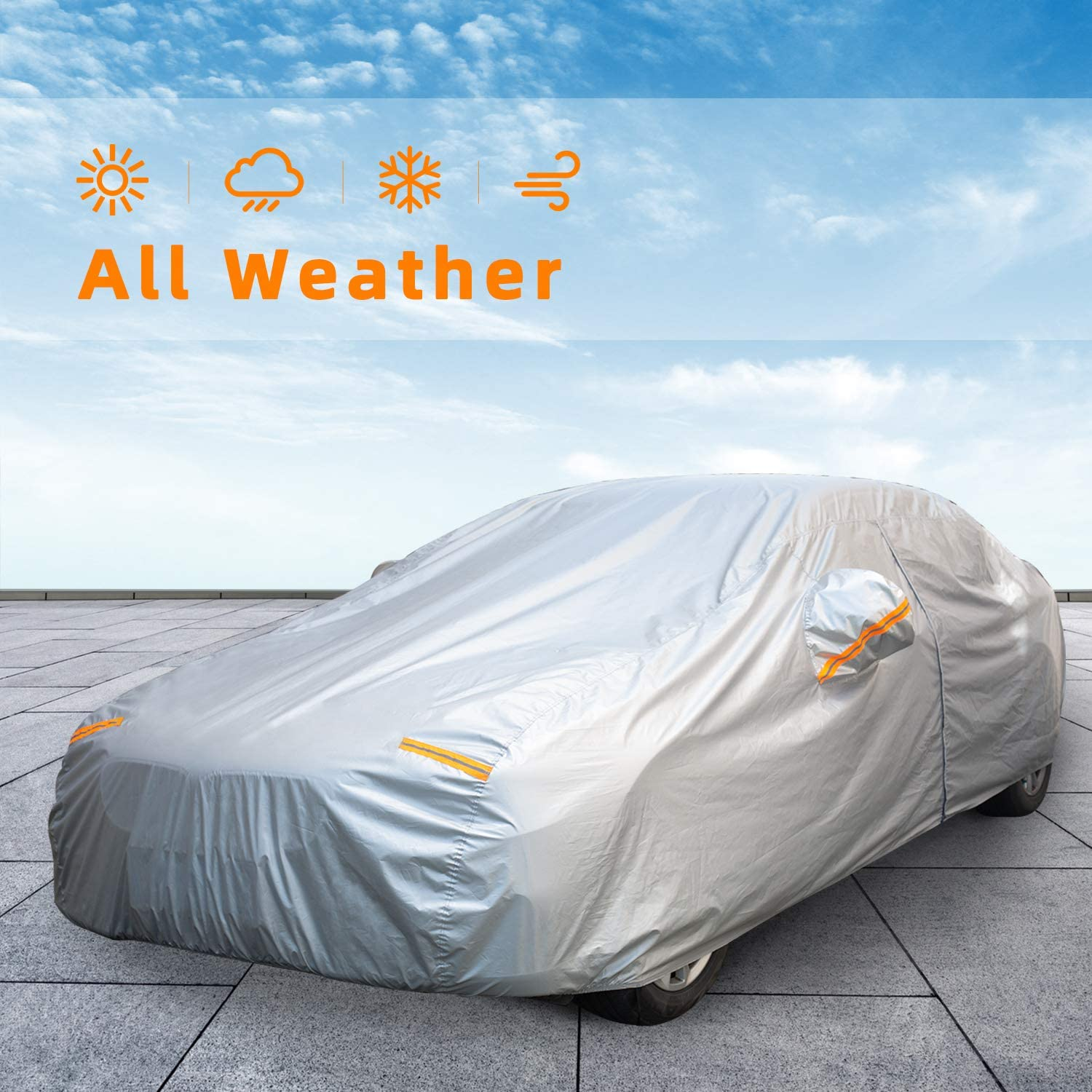 Kayme Car Cover Waterproof All Weather with Lock and Zipper Fit Sedan Up to 175 Inch Outdoor Sun Uv Rain Protection H1