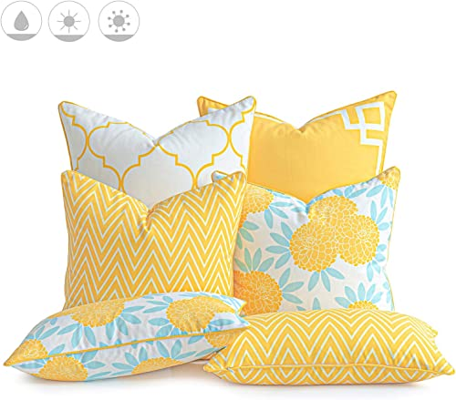 Honeycomb Indoor Outdoor Sunbrella Stanton Lagoon Large Square Toss Pillow Recycled Polyester Fill, Pack of 2 Pillows 21 L x 21 W x 7 H