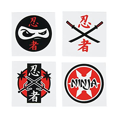 Fun Express Assorted Ninja Warrior Temporary Tattoos - 72 Piece Pack: Home & Kitchen